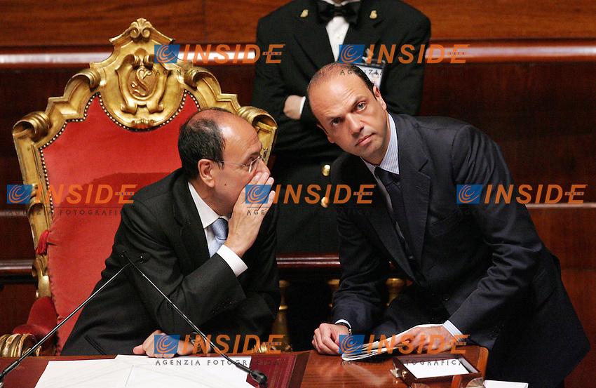 ANGELINO ALFANO E RENATO SCHIFANI<br />Roma 10/06/2010 Senato. Voto di fiducia sul DDL riguardante le Intercettazioni.<br />Photo Zucchi Insidefoto