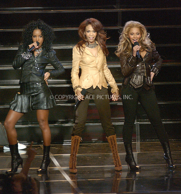 WWW.ACEPIXS.COM . . . . . ....NEW YORK, NOVEMBER 16, 2004....Destiny's Child performs on Good Morning America.....Please byline: ACE006 - ACE PICTURES.. . . . . . ..Ace Pictures, Inc:  ..Alecsey Boldeskul (646) 267-6913 ..Philip Vaughan (646) 769-0430..e-mail: info@acepixs.com..web: http://www.acepixs.com