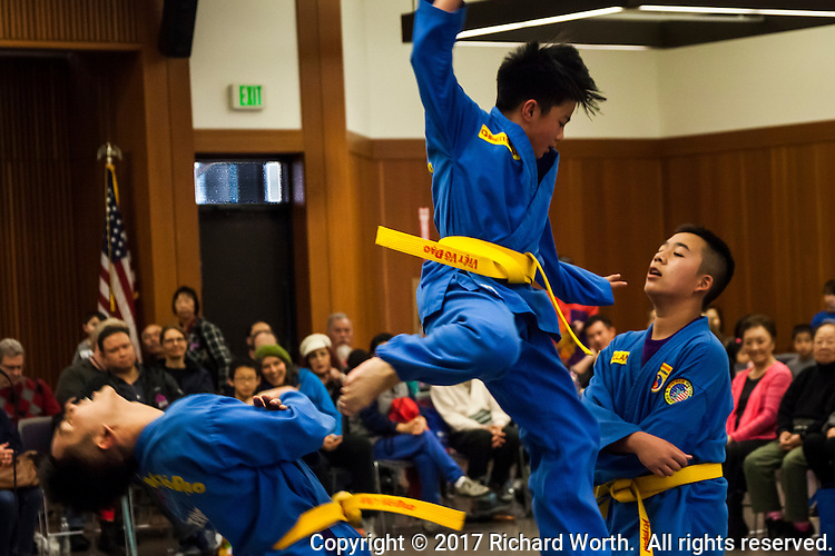 A self-defense demonstration during the Lunar New Year Celebration at the San Leandro Library, San Leandro, California.