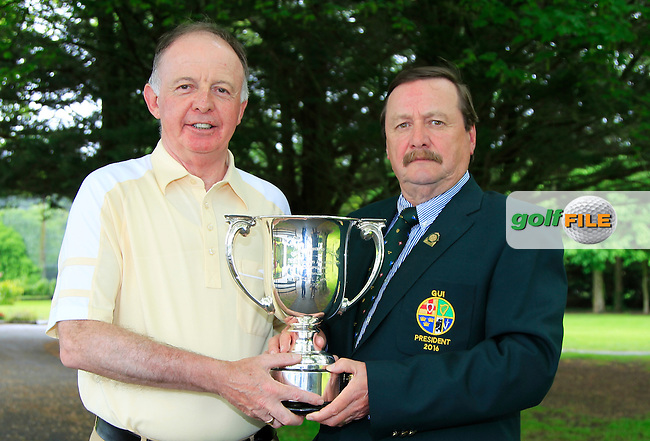 Kevin McIntyre (President G.U.I) with Tom Cleary (Cork) winner of the Irish Seniors Amateur Open Championship at Ardee Golf Club on Friday 20th May 2016.<br /> Picture:  Thos Caffrey / www.golffile.ie