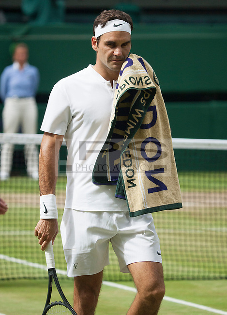 Marin Cilic (CRO) wipes his face during the Mens Final match against Roger Federer (SUI), Wimbledon Championships 2017, Day 13, Mens Final, All England Lawn Tennis & Croquet Club, Church Rd, London, United Kingdom - 16th July 2017