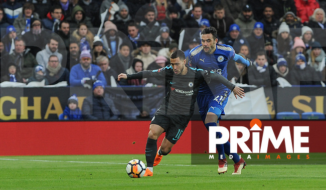 Eden Hazard of Chelsea & Vicente Iborra of Leicester City  during the FA Cup QF match between Leicester City and Chelsea at the King Power Stadium, Leicester, England on 18 March 2018. Photo by Stephen Buckley / PRiME Media Images.