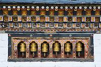 prayer wheels in the Thimpu Dzong, Bhutan