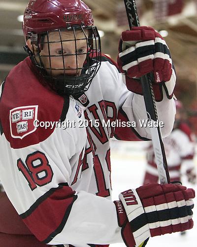 Mike Seward (Harvard - 18) - The Harvard University Crimson defeated the visiting Princeton University Tigers 5-0 on Harvard's senior night on Saturday, February 28, 2015, at Bright-Landry Hockey Center in Boston, Massachusetts.