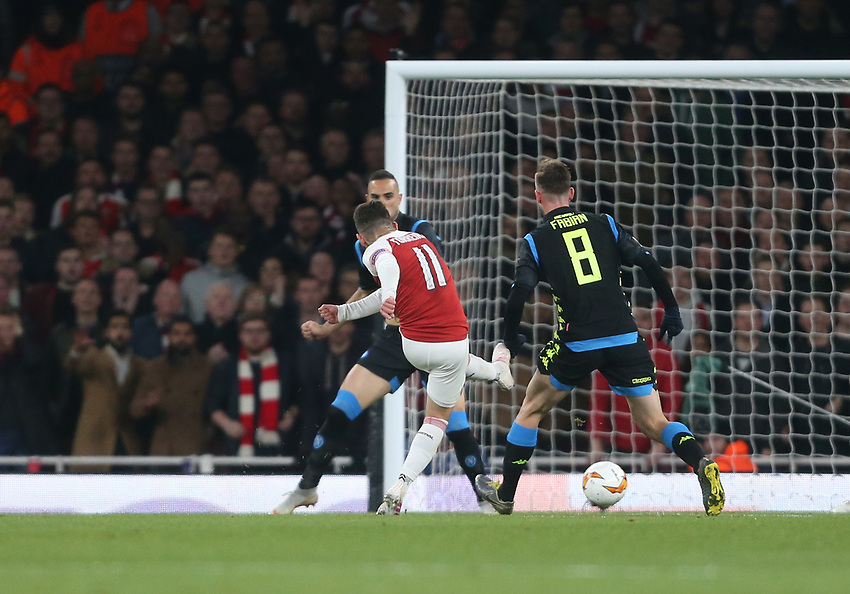 Arsenal's Lucas Torreira scores his side's second goal <br /> <br /> Photographer Rob Newell/CameraSport<br /> <br /> UEFA Europa League First Leg - Arsenal v Napoli - Thursday 11th April 2019 - The Emirates - London<br />  <br /> World Copyright © 2018 CameraSport. All rights reserved. 43 Linden Ave. Countesthorpe. Leicester. England. LE8 5PG - Tel: +44 (0) 116 277 4147 - admin@camerasport.com - www.camerasport.com