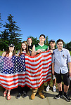 Coming from nearby Bellingham, Sehome High School students Colleen Graham, Glory DeCoteau, Olen Sandeno, Sean Graham, Tyler Carroll and Aiden Capistro came to support Republican Presidential Candidate Donald Trump at his rally May 7, 2016 at the Northwest Washington Fairgrounds in Lynden, Washington.  Photo by Daniel Berman/www.bermanphotos.com