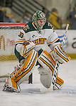 18 December 2016: University of Vermont Catamount Goaltender Pat Feeley, a Senior from Winthrop, MA, warms up prior to a game against the Union College Dutchmen at Gutterson Fieldhouse in Burlington, Vermont. The Catamounts fell to their former ECAC hockey rivals 2-1, as the Dutchmen sweep the two-game weekend series. Mandatory Credit: Ed Wolfstein Photo *** RAW (NEF) Image File Available ***
