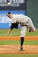 Pitcher Jordan Montgomery (34) of the Charleston RiverDogs delivers a pitch in a game against the Greenville Drive on Saturday, May 23, 2015, at Fluor Field at the West End in Greenville, South Carolina. Charleston won 5-4. (Tom Priddy/Four Seam Images)