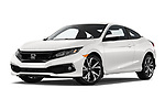 Stock pictures of low aggressive front three quarter view of a 2019 Honda Civic-Coupe Sport 2 Door Coupe
