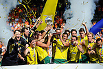 The Hague, Netherlands, June 15: The Kookaburras celebrate the win of the World Cup Trophy during the prize giving ceremony on June 15, 2014 during the World Cup 2014 at Kyocera Stadium in The Hague, Netherlands. (Photo by Dirk Markgraf / www.265-images.com) *** Local caption ***