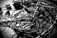 Messy cables at the OK Go show.