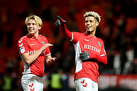Lyle Taylor celebrates Charlton's victory at the final whistle with George Lapslie during Charlton Athletic vs Burton Albion, Sky Bet EFL League 1 Football at The Valley on 12th March 2019