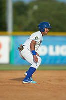 Jose Marquez (4) of the Burlington Royals takes his lead off of second base against the Johnson City Cardinals at Burlington Athletic Stadium on July 15, 2018 in Burlington, North Carolina. The Cardinals defeated the Royals 7-6.  (Brian Westerholt/Four Seam Images)