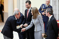 Elio Berhanyer, Prince Felipe of Spain and Princess Letizia of Spain attend the National Awards of Culture 2011 and 2012 at Palacio de El Pardo. February 19, 2013. (ALTERPHOTOS/Caro Marin) /NortePhoto