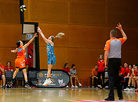 29th November 2019; Bendat Basketball Centre, Perth, Western Australia, Australia; Womens National Basketball League Australia, Perth Lynx versus Southside Flyers; Aimie Clydesdale of the Southside Flyers takes a three point shot over Katie Ebzery of the Perth Lynx - Editorial Use