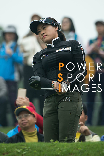 Han Sol Ji of South Korea tees off during Round 4 of the World Ladies Championship 2016 on 13 March 2016 at Mission Hills Olazabal Golf Course in Dongguan, China. Photo by Victor Fraile / Power Sport Images