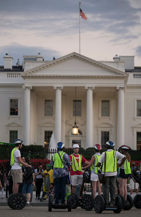 UNITED STATES - August 27: A segway tour stops in front of the North Lawn of the White House on Thursday, August 27, 2015. President Obama was visiting New Orleans, La.,  for the 10th anniversary since the devastation of Hurricane Katrina. Photo By Al Drago/CQ Roll Call)