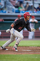 Batavia Muckdogs center fielder Ricardo Cespedes (32) follows through on a swing during a game against the Auburn Doubledays on June 15, 2018 at Falcon Park in Auburn, New York.  Auburn defeated Batavia 5-1.  (Mike Janes/Four Seam Images)