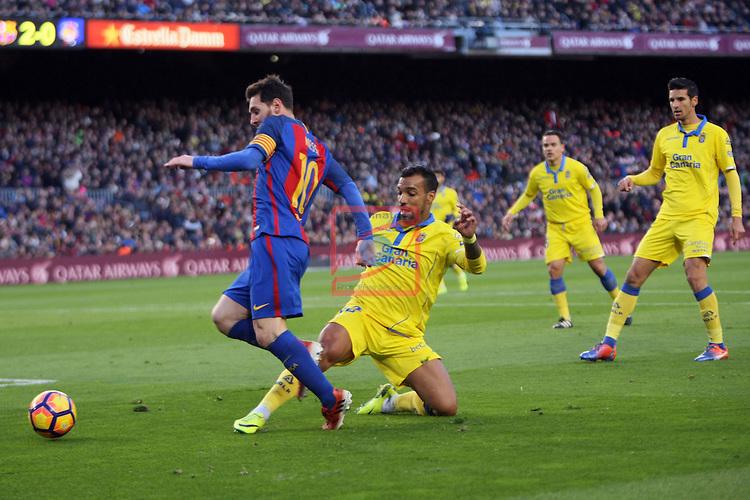 League Santander 2016/2017. Game: 18.<br /> FC Barcelona vs UD Las Palmas: 5-0.<br /> Lionel Messi vs Michel.
