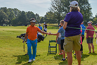 Kodai Ichihara (JPN) high fives a young fan as he departs the green on 1 during round 3 of the WGC FedEx St. Jude Invitational, TPC Southwind, Memphis, Tennessee, USA. 7/27/2019.<br /> Picture Ken Murray / Golffile.ie<br /> <br /> All photo usage must carry mandatory copyright credit (© Golffile | Ken Murray)