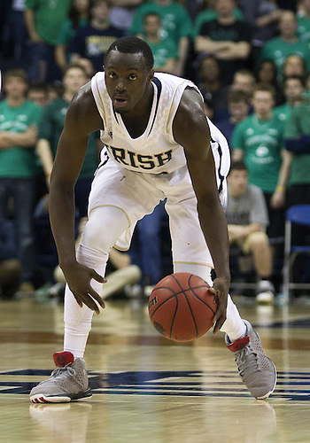 January 19, 2013:  Notre Dame guard Jerian Grant (22) dribbles the ball during NCAA Basketball game action between the Notre Dame Fighting Irish and the Rutgers Scarlett Knights at Purcell Pavilion at the Joyce Center in South Bend, Indiana.  Notre Dame defeated Rutgers 69-66.