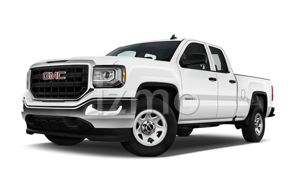 Stock pictures of low aggressive front three quarter view of 2016 GMC Sierra 1500 2WD Double Cab Standard Box SLE 4 Door Pick-up Low Aggressive