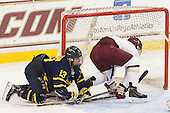 Brett Seney (Merrimack - 13), Michael Matheson (BC - 5) - The Boston College Eagles defeated the visiting Merrimack College Warriors 2-1 on Wednesday, January 21, 2015, at Kelley Rink in Conte Forum in Chestnut Hill, Massachusetts.