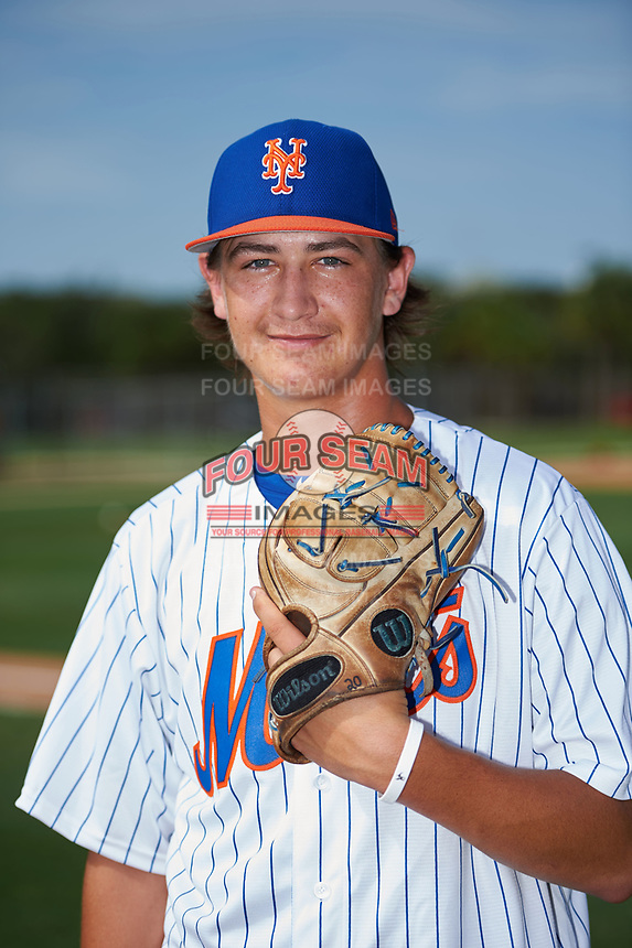 GCL Mets pitcher Nate Peden poses for a photo before a game against the GCL Cardinals on July 23, 2017 at Roger Dean Stadium Complex in Jupiter, Florida.  GCL Cardinals defeated the GCL Mets 5-3.  (Mike Janes/Four Seam Images)