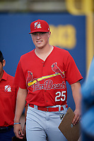 Palm Beach Cardinals pitcher Evan Kruczynski (25) before a game against the Charlotte Stone Crabs on April 21, 2018 at Charlotte Sports Park in Port Charlotte, Florida.  Charlotte defeated Palm Beach 5-2.  (Mike Janes/Four Seam Images)
