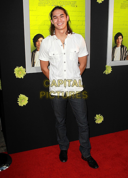 "BooBoo Stewart.Premiere Of Summit Entertainment's ""The Perks Of Being A Wallflower"" Held At ArcLight Cinemas, Hollywood, California, USA..September 10th, 2012.full length white shirt jeans denim .CAP/ADM/KB.©Kevan Brooks/AdMedia/Capital Pictures."