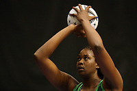 21.02.2018 Jamaica's Romelda Aiken in action during the Jamaica v Fiji Taini Jamison Trophy netball match at the North Shore Events Centre in Auckland. Mandatory Photo Credit ©Michael Bradley.