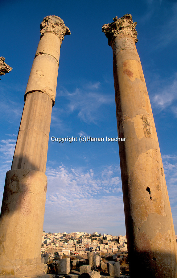 Jordan, Jerash. Columns at the Cardo, or colonnaded street&#xA;<br />