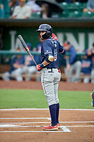Antonio Pinero (3) of the Rocky Mountain Vibes at bat against the Ogden Raptors at Lindquist Field on July 4, 2019 in Ogden, Utah. The Raptors defeated the Vibes 4-2. (Stephen Smith/Four Seam Images)
