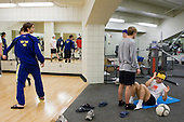 Jacob Josefson (Sweden - 26), ?, Patrick Cehlin (Sweden - 9), William Wallén (Sweden - 22) - Members of Team Sweden worked out at the Urban Plains Center in Fargo, North Dakota, on Friday, April 17, 2009, during the 2009 World Under 18 Championship.
