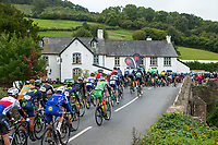Picture by Alex Whitehead/SWpix.com - 10/09/2017 - Cycling - OVO Energy Tour of Britain - Stage 8, Worcester to Cardiff - The peloton travel over Skenfrith Bridge.