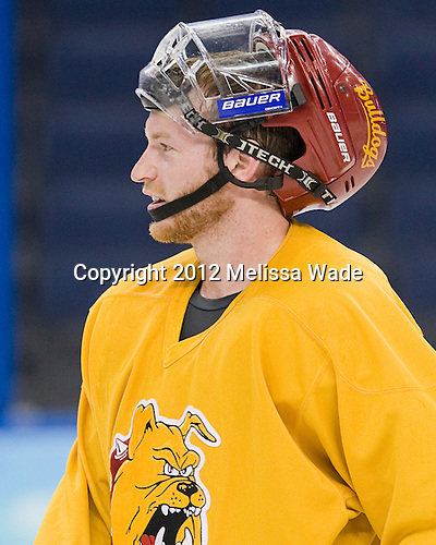 Matthew Kirzinger (FSU - 20) - The Ferris State University Bulldogs practiced on Wednesday, April 4, 2012, during the 2012 Frozen Four at the Tampa Bay Times Forum in Tampa, Florida.