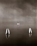 AUSTRIA, Podersdorf, a sailboat in Lake Neusiedler See, Burgenland (B&W)