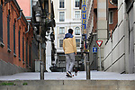 A man plays with his dog in a street of Madrid during the health crisis due to the Covid-19 virus pandemic - Coronaviruss. April 26,2020. (ALTERPHOTOS/Alejandro de Dios)