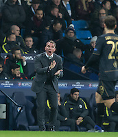Celtic Manager Brendan Rogers gives instructions during the UEFA Champions League GROUP match between Manchester City and Celtic at the Etihad Stadium, Manchester, England on 6 December 2016. Photo by Andy Rowland.