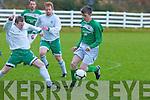 Paul Carmody Castleisland and Conor Molloy Killybegs challenge for the ball n their FAI Junior cup clash in Killybegs on Sunday