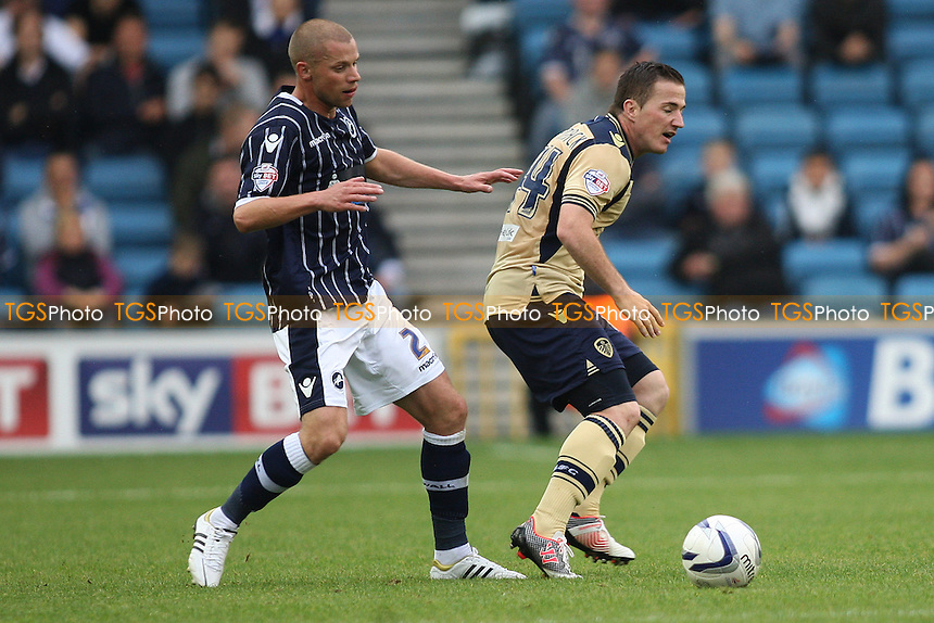 Alan Dunne of Millwall and Ross McCormack of Leeds United- Millwall vs Leeds United - Sky Bet Championship Football at the New Den, South Bermondsey, London - 28/09/13 - MANDATORY CREDIT: George Phillipou/TGSPHOTO - Self billing applies where appropriate - 0845 094 6026 - contact@tgsphoto.co.uk - NO UNPAID USE