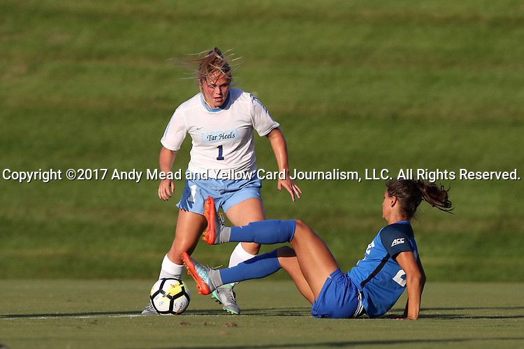 CARY, NC - AUGUST 18: North Carolina's Madison Schultz (1) and Duke's Remi Swartz (29). The University of North Carolina Tar Heels hosted the Duke University Blue Devils on August 18, 2017, at Koka Booth Stadium in Cary, NC in a Division I college soccer game.