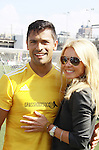 "Live with Kelly and All My Children's Kelly Ripa ""Hayley Vaughan Santos"" poses with her husband Mark Consuelos participates at the ""Kicking It"" at the Annual Tribeca/NYFEST Soccer Day Celebrity Exhibition on April 21, 2012 - NYFEST (which stands for New York Film and Entertainment Soccer Tournament) was designed to mesh the worlds of entertainment, soccer and New York City in conjunction with the Tribeca Film Festival. The day included a film and entertainment industry tournament with 44 teams with one winner the Grassrootsoccer team which Mark Consuelos played on which was cofounded by Survivor Africa winner Ethan Zohn. The all-day event took place at Pier 40 in Manhattan, and consisted of an industry tournament, a youth showcase, and a celebrity soccer tournament.  (Photo by Sue Coflin/Max Photos)"