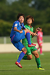 (L to R) <br /> Saori Takahashi (Elfen), <br /> Tomoko Muramatsu (Beleza), <br /> JULY 12, 2015 - Football / Soccer : <br /> 2015 Plenus Nadeshiko League Division 1 <br /> between NTV Beleza 1-0 AS Elfen Saitama <br /> at Hitachinaka Stadium, Ibaraki, Japan. <br /> (Photo by YUTAKA/AFLO SPORT)