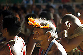 Altamira, Brazil. Encontro Xingu protest meeting about the proposed Belo Monte hydroeletric dam and other dams on the Xingu river and its tributaries. Asurini chief from Koatinemo Altamira, Brazil.