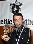 Ardee Celtic Under 15 player of the year Trevor Matthews at the Ardee Celtic annual awards night in Ardee parish centre. Photo:Colin Bell/pressphotos.ie