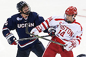 David Drake (UConn - 5), Bobo Carpenter (BU - 14) - The Boston University Terriers defeated the visiting University of Connecticut Huskies 4-2 (EN) on Saturday, October 24, 2015, at Agganis Arena in Boston, Massachusetts.