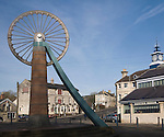Old winding wheel memorial to the coal mining heritage of the Somerset coalfield, Radstock, Somerset, England