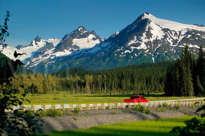 The Seward Highway in the Chugach National Forest, Kenai Peninsula, Alaska