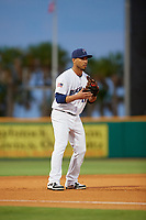 Pensacola Blue Wahoos third baseman Ivan De Jesus Jr. (14) during a Southern League game against the Mobile BayBears on July 25, 2019 at Blue Wahoos Stadium in Pensacola, Florida.  Pensacola defeated Mobile 3-2 in the second game of a doubleheader.  (Mike Janes/Four Seam Images)